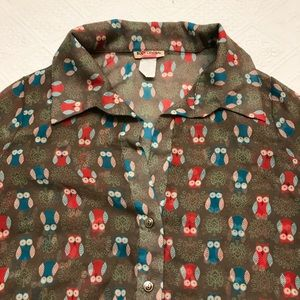 Owl Novelty Print Button Down Tie Front Shirt